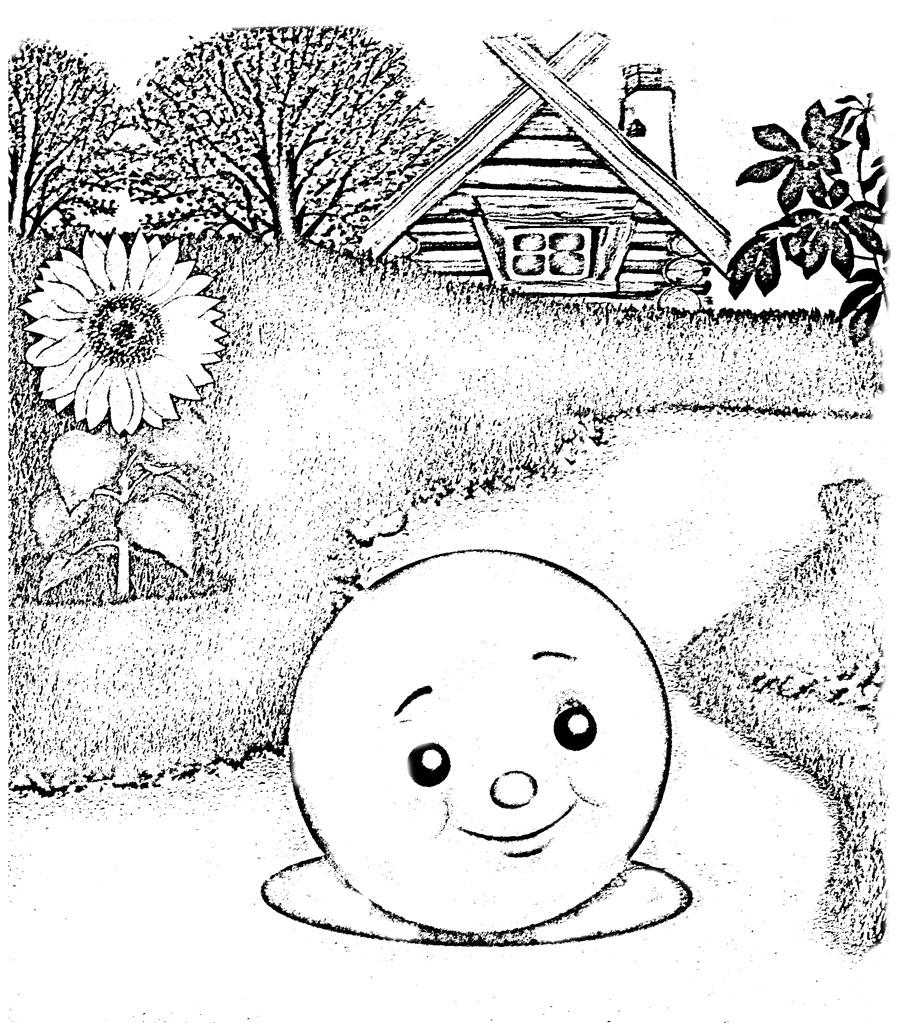 Картинки сказки колобок для срисовки