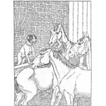 """Крылов """"Собака и лошадь"""". Раскраска"""
