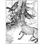 """Крылов """"Ворона и лисица"""". Раскраска"""