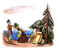 """Раскраска по сказке Пушкина """"Сказка о рыбаке и рыбке"""""""