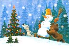 Сказка про новогоднюю елку и снеговика