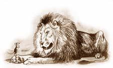 Сочиняем басню с моралью про льва и мышь