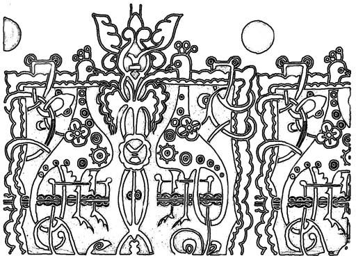 """Орнамент """"Сказочные звери"""". Раскраска 1"""