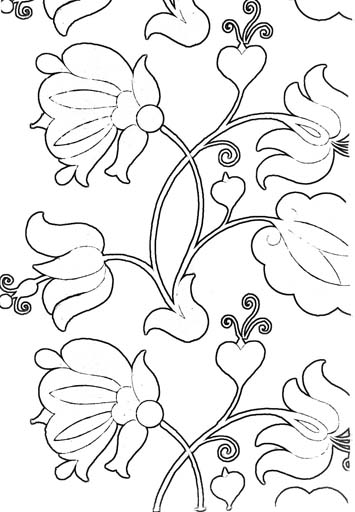 Флористический орнамент. Раскраска 1