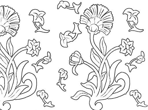 Флористический орнамент. Раскраска 2