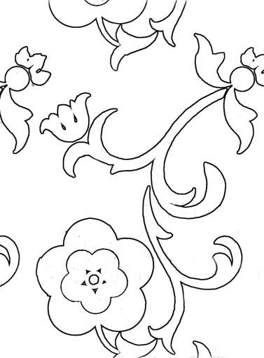 Флористический орнамент. Раскраска 3