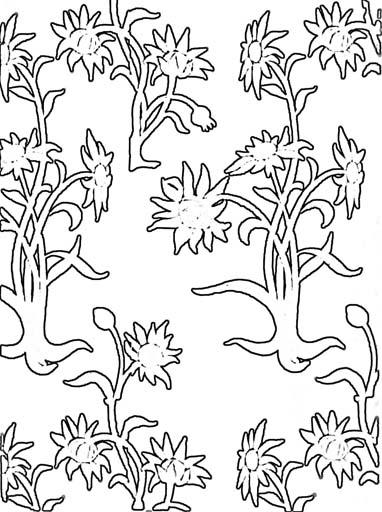 Орнамент из цветов. Раскраскa 3