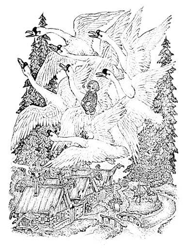 """Сказка """"Гуси-лебеди"""". Раскраска"""