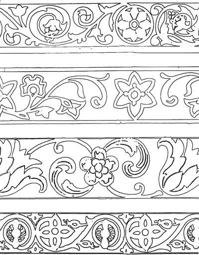 Узорчатый орнамент. Раскраска 2