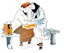 "Раскраска к стихотворению А.Барто ""Две бабушки"""